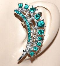 MONO ORECCHINO argento verde donna ragazza strass cristalli brillantini F223