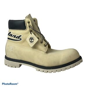 """Mens Timberland Boots 6"""" Cream Ivory Black Spell Out Logo Accent Mens Size 15 M"""