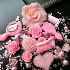 UFINDINGS - DIY 3D Bling Cell Phone Case Deco Kit : Pink Roses Mirror Heart a...
