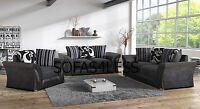 new shannon farrow leather + fabric 3+2 seater sofa armchair in black grey beige
