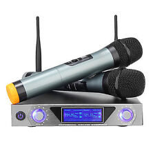 LED VHF 2 Channel Cordless Wireless Dual Handheld Microphone System Home Karaoke