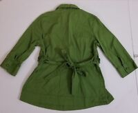 Antilia Femme Belted Blouse 3/4 Sleeve Shirt Top Women's Size Medium Green
