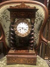 Pendule Horloge ancienne portique à colonnes Marqueterie