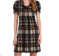 Jessica H Wo's M Brown Black Plaid Fall Cowl Neck Pleated Puff S/S Tent Dress