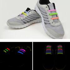 Lots 12Pcs Fashion Unisex Luminous No Tie Shoe Laces Elastic Silicone Shoelaces