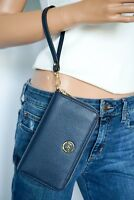 NWT Michael Kors Navy Pebbled Leather Large Flat Phone Case Wallet Wristlet