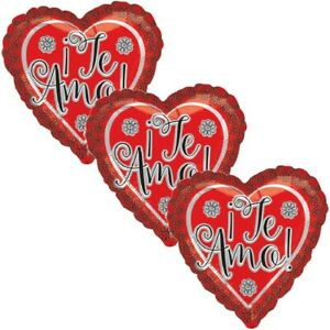 3 pc Flowers Te Amo I Love You Heart Happy Valentines Day Balloon Bouquet Kiss