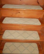 "14= STEP 9"" x 30"" + LANDING 30"" X 31"" WOVEN WOOL TUFTED Carpet Stair Treads."