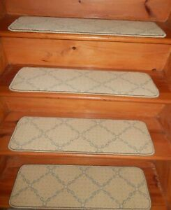 """14= STEP 9"""" x 30"""" + LANDING 30"""" X 31"""" WOVEN WOOL TUFTED Carpet Stair Treads."""