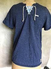Scotch & Soda Amsterdam BAHAMAS Men's Blue Cotton Knit T-Shirt M SPECKLED LACEUP