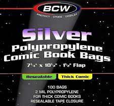 50 Silver Resealable THICK Comic Bags and Boards Assembled Archival Book Storage