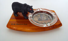VINTAGE ROCKY MOUNTAIN PARK Black Bear Glass Ashtray Wood Base Mid Century