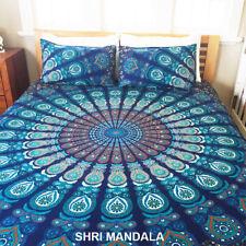 Blue Green Peacock Hippie Mandala Queen Size Bedding Bed Sheet Set Pillow Covers