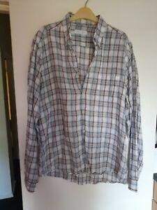 Mens Nigel Hall Shirt XL Blue Check Shirt Long Sleeve Linen