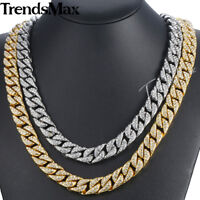 14mm Curb Cuban Womens Mens Necklace Chain Gold Filled Iced Out Hip Hop Jewelry