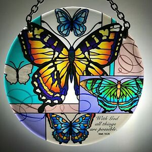 Joan Baker Hand painted Suncatcher-MC181R-Butterfly Collage/With God all things