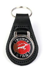 Triumph Stag Red Logo Quality Black Leather Keyring