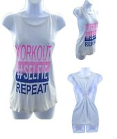 Popular Sports Workout Tank Top Womens Sleeveless Shirt White Casual Exercise