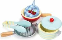 Le Toy Van HONEYBAKE POTS & PANS Wooden Kitchen Accessory Set Cafe Kids BN