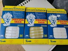 3000 Rhino Tyvek White Adhesive Dumbbell Jewelry Labeling Price Tags 3 Colors
