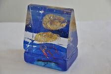 Kosta Boda Bertil Vallien -Blue House with Gold head-  artglass objekt NEU unben