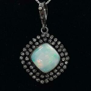 Antique 11.90ctw Old Rose Cut F-SI Diamond & Opal Silver Pendant 4.1g