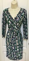 Nine West Size 2 Woman's White Black Green Blue Brown Career Sheath Wrap Dress