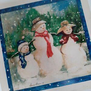 Tile Trivet Absorbent Stone Snowman Family Glenda Brown Christmas Kitchen Decor
