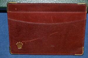 Genuine Rolex Wallet Card Holder Red Leather