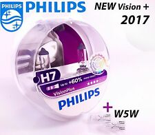NEW Philips H7 Vision Plus +60% Car Headlight Bulbs 12V 55W PX26d + Blue W5W