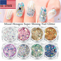 8Colors Fantasy Nail Art Flakes Holographic Glitter Sequin Decoration Manicure