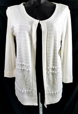 NWT RAFAELLA White Cardigan Sweater Size S Sequins Beaded White Lightweight Knit