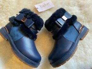 Baker by Ted Baker Navy Girls Faux Fur Boots Size 9 UK / 26.5 EU BNWT RRP £40