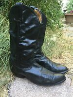 VTG TONY LAMA #6158 Mens Black Leather Work Western Cowboy Boots Sz 8.5 D