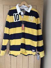 Superdry Rugby Shirt Navy Yellow Stripe Long Sleeve Blue Men's Size XXL - BNWT