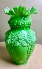 "Rare Vintage Fenton? Green Glass Lamp Shade 3 3/8"" Fitter"