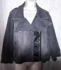 Rocawear Womans Zip Up Jean Jacket Size 2X Gray 3/4 Sleeves