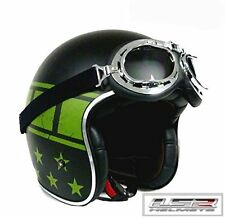 LS2 OF583 KURT FIBREGLASS RETRO HELMET & FREE GOGGLES & PEAK, MATT BLACK, XXL