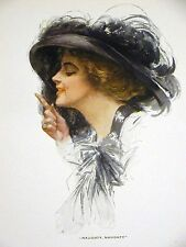 Harrison Fisher Girl in BIG BLACK HAT NAUGHTY 1912 Antique Art Print Matted