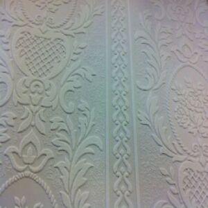 Anaglypta White Blown Vinyl Embossed Textured Paintable Pattern Wallpaper 261618