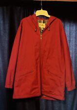 Eddie Bauer Women's Medium Women's Red Spring Or Fall Coat Hooded Plaid Lining