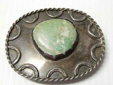 VINTAGE large Stone TUR NAVAJO INDIAN STERLING SILVER WESTERN RODEO BUCKLE