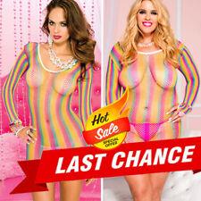 Med/Plus Size Longsleeve Diamond Fishnet Rainbow Stripe Mini Dress Club Bodycon