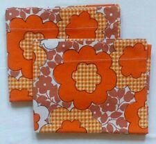Vintage Pillowcases 70's Simpson's Simco  Orange & Brown Flowered Retro