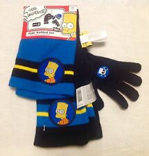 New The Simpson Kids set Winter hat, scarf, gloves 110/116-122/128, 5-7 years