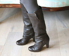 Chie Mihara Shoes Vicenza Draped Tall Boots $650 DARK BROWN LEATHER PULL ON 7.5