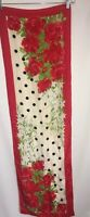 Vera Neumann Prima Collection Silk Scarf / 52 x 15 Sash / Red Roses Floral Green