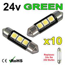 10 x Green 24v 39mm Festoon Interior Plate Light 242 C5W 3 SMD Bulbs HGV Truck
