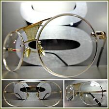 Classic Vintage Retro Style Clear Lens Eye Glasses Round Gold Fashion Frame