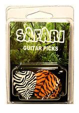 """""""SAFARI"""" Guitar Pick Pack, 6 Picks .71mm Clamshell, pics plectrums, Animal Print"""